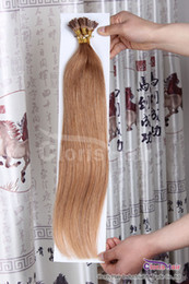 """Discount hair extensions brown tips - Silky Straight 18-22"""" Light Golden Brown #12 Pre-bonded Keratin Fusion Stick Tip I-tip Remy Human Hair Extensions 1"""
