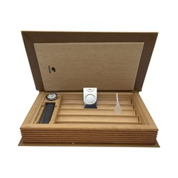 Cohiba Cutters online shopping - COHIBA Brown Leather Book Style Cedar Lined Cigar Holder Cigarette Humidor with Cutter Humidor Cabinets for Cigar Accessories