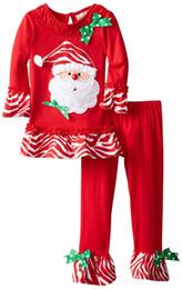 $enCountryForm.capitalKeyWord NZ - 3 styles Hot selling European and American new style Children Christmas Clothing Girls Santa Claus Snowman gift box Print Blouse +pants sets