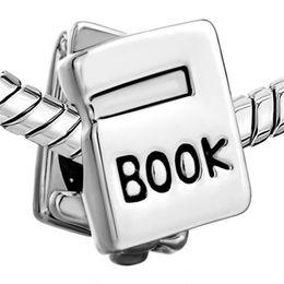 10 unids por lote Agujero Grande Rodio Plateado Libro Escolar Grano Europeo Fit Pandora Chamilia Biagi Charm Bracelet