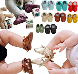 Babies Leather Booties Canada - Free Fedex UPS Ship 2016 baby moccasins baby moccs girls bow moccs 100% Top Layer soft leather moccs baby booties toddler shoes 120Pairs Lot