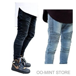 Pantalons De Mode Pour Hommes Les Plus Chauds Pas Cher-Designer de haute qualité de la mode Hot Man Hommes Skinny Denim Biker Jeans Joggers Hip Hop Swag Vêtements Vêtements Streetwear