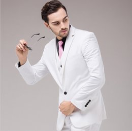 Blouses Robe Pour Le Mariage Pas Cher-(Vestes + Vest + Pantalons) Nouveaux Hommes Suits Slim Fit Tuxedo Marque de mode Bridegroon Business Wedding Wedding Blanche Blouses
