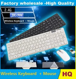 Usb Wireless Keyboards Canada - NEW high quality JK - 906 2.4G Ultra Thin Wireless Multiple Battery-safe Desktop Keyboard and Mouse Combo with USB Receiver 10pcs