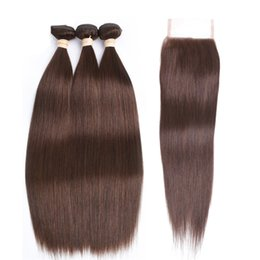Discount medium chestnut brown hair - #4 Medium Brown Color Straight Virgin Hair Bundles With Lace Closure Chestnut Brown Peruvian Human Hair Weaves With 4*4