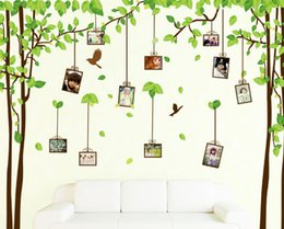 bedroom wall sticker photos NZ - 2015 fashion 2 in 1 2*60*90cm photo frame memory green forest wall sticker living room home Wall Sticker Decor