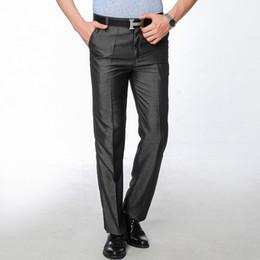 Slim Fit Grey Trousers Men Canada - Wholesale- Mens Dress Pants 2017 Fashion Men Slim Fit Black Suit Pants Costume Pantalon Homme Regular Fit Grey Straight Trousers of Suits