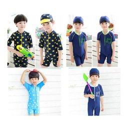 geometric one piece swimsuits 2019 - New Boys Diving suits Kids Piece swimsuit +Hat Quick drying Children Swimsuits Bathing Set discount geometric one piece