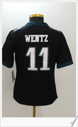 Barato Bordado De Estilo-Womens Color rush style black # 11 Carson Wentz American College Futebol Camisas Stitched Embroidery Uniforms Sports New Cheap Team Jerseys