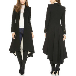 Blasons De Laine Pas Cher-Gros-Femmes Lapel Salut-Lo Hem Tuxedo Retour Asymmetric Fit-and-flare Windbreaker Woolen Blazer Trench Coat Outwear