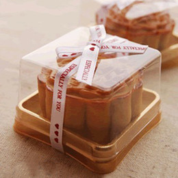 individual plastic cake boxes 2019 - Plastic Box Single Individual Cake Boxes Golden Bottom Plastic Mooncake Boxes Food Gift Packaging 5*5*4 cm