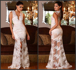Modèles De Robes Sexy Pas Cher-2016 Sexy Lace Prom Dresses Photos de modèle V Neck Sheer Long Sleeve Lace Appliques Beads Backless Formal Dress See Through Party Gowns