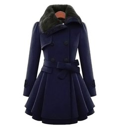 Barato Velo De Colarinho Duplo-Preself Double-Breasted Belted Fleece Collar Outwear Secções Longas Femininas Slim Woolen Coat Fashion Wool Coat Thicker q171118