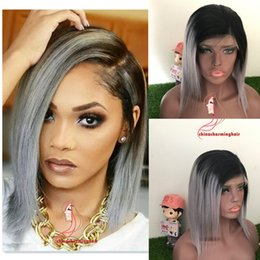 Wig Grey Australia - Ombre Two Tone T1B Grey Lace Front Human Hair Bob Wigs silky straight Brazilian Virgin Hair 130 Density Lace Front Wig Glueless
