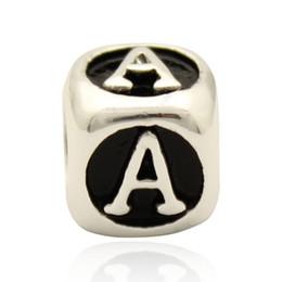 Cube blaCk letters online shopping - Black enamel dice shape Letter A to J bead alphabet bracelet European DIY charm fit Pandora bracelet