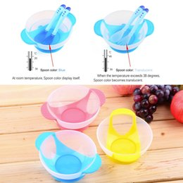 $enCountryForm.capitalKeyWord Canada - Baby Infants feeding Bowl With Sucker and Temperature Sensing Spoon Suction Cup Bowl Slip-resistant Tableware Set New Arrival TT66