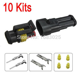 Pin Plugs Waterproof Canada - New 10sets Car Part 2 Pin Way Sealed Waterproof Electrical Wire Auto Connector Plug Set