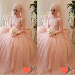 custom made modest ball gown muslim wedding dresses with long sleeves peach pink lace high neck bridal gowns sh00213 peach wedding dresses sleeves promotion