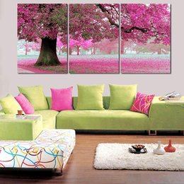 Cherry Blossom Picture Canada - New Oil Painting On Canvas 3 Pcs Pink Cherry Blossom Large Modern Wall Art Office Decoration Picture Set Decoration Living Room