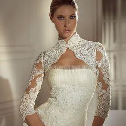 $enCountryForm.capitalKeyWord Canada - Lace Appliques Long Sleeve Wedding Jackets Hot New Arrival Fast Delivery Beaded High Neck Bridal Wraps Jacket Bolero For Beauty Bridal Dress