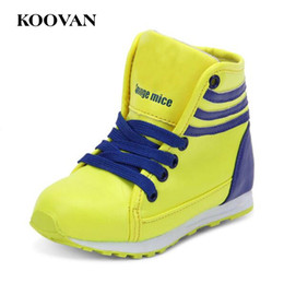 Barato Meninas Alto Alto Sapatilhas Crianças-Koovan Little Kids Sneaker Boy Girl Running Shoes 2017 High Top Sneakers Baby First Walker Soft Bottom Free Ship K603