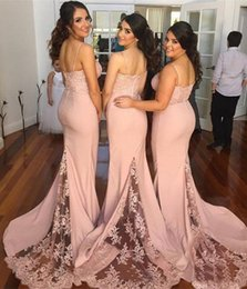 Barato Vestido De Renda Cor-de-rosa-2017 Blush Pink Vestidos de dama de honra Spaghetti Strap sem mangas Mermaid Lace Junior Country Bridesmaid Dresses Long Maid Of Honor Dress