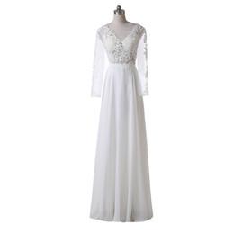 Платья с длинным рукавом для пляжа 2016 Аппликация A-Line Scoop Neckline Floor Length Custom Custom Lace Chiffon Vintage Bridal Gowns Реальное изображение W2566