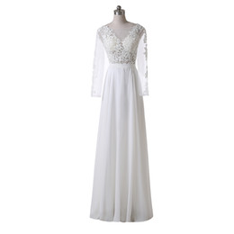 China Long Sleeve Beach Wedding Dresses 2019 Applique A-Line Scoop Neckline Floor Length Custom Lace Chiffon Vintage Bridal Gowns Real Image W2566 suppliers
