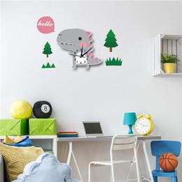 Wall Watch Silent Canada - 3D Animal Wall Clock Dinosaur Pattern Design Decoration Bedroom Creative Digital Watches child Wallpaper Silent clock 62 X 40cm