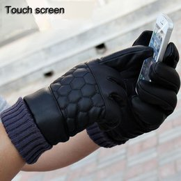 Wholesale Winter Leather Men Gloves Touch Screen Thermal Gloves For Men Male Snow Ski Gloves Waterproof Thick LattMittens Outdoor