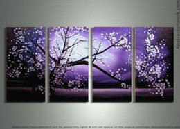 Cherry Blossom Picture Canada - handpainted 4 piece purple modern decorative oil painting on canvas wall art cherry blossom pictures for home decoration D 158