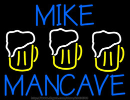 """Hot Bar Australia - HOT Mike Man Cave Neon Sign Handcrafted Custom Real Glass Tube Open Bar KTV Club Pub Disco Store Display Neon Signs 30""""X26"""""""