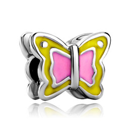 pandora pink butterfly charm 2020 - Alloy Rhodium Plating Hand Yellow and pink Enamel Butterfly Bead Elegant Charm Fit Pandora Bracelet