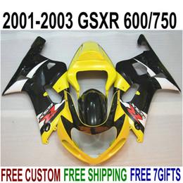 Kit Gsxr K1 NZ - ABS full fairing kit for SUZUKI GSX-R600 GSX-R750 2001-2003 K1 GSXR 600 750 black yellow plastic fairings set 01-03 RA26