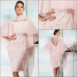 Wholesale 2018 Pink Mother Of Bride Groom Dresses Sheath High Neck Sheer Back Knee Length Lace Appliqued Beads Mother Dresses BO8482