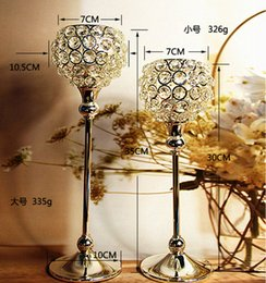 $enCountryForm.capitalKeyWord Canada - 2pcs lot wedding Crystal globe Votive Candle Holder Metal Candle stand with Crystal Ball Silver-gold for Home decoration