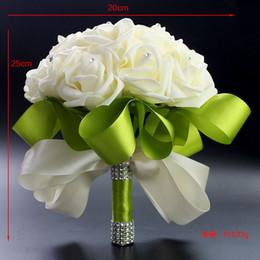 $enCountryForm.capitalKeyWord Canada - 2015 Hot Bridal Wedding Bouquet Wedding Decoration Artificial Bridesmaid Bouquets Beads Crystal Fake Flower Rose Cream Green Cheap