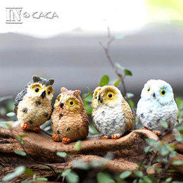Carved Figures Canada - 4 style micro mini fairy garden miniatures figurines Owl birds animal Action Figure Toys ornament terrarium accessories movie props