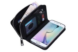 $enCountryForm.capitalKeyWord UK - Wallet Case Flip Cove PU Leather Zipper Card Slot Pouch 2 In 1 Coin Purse Phone Bag For iPhone6 6p Samsung s6 s6edge