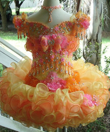 Images D'anniversaire Fleurs Pas Cher-2016 Cupcake Off Shoulder Sequins Crystal Beauty Glitz Flower Girl Dress Up