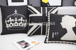 Black UK Flag Stamp Imperial Crown Throw Pillow Case 18x18