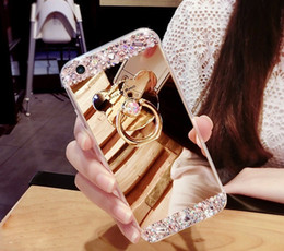 Iphone5 Case Stand Australia - Mirror TPU Silicone Phone Case Capa For iphone5 6 6s 7 8 plus Coque Diamond Cute Bear Ring Stand Slim Thin Back Cover