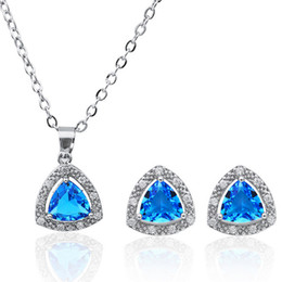 crystal triangle necklace UK - Luxurious Blue Gemstone Necklace Earrings Sets Triangle Shape Copper Jewelry Set Classic fashion crystal necklace set 1404