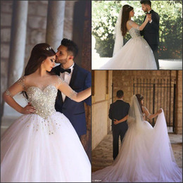 $enCountryForm.capitalKeyWord Canada - Arabic Long Sleeve 2017 New Wedding Dresses Basque Waist Illusion Top with Crystal Beads Plus Size Ball Bridal Gowns Tiers Tulle BA1017