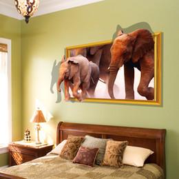 $enCountryForm.capitalKeyWord Canada - 3D Wall Sticker Running Elephant Fake Window Home Decoration DIY Home Decor Wall Frames for Room Decoracaon