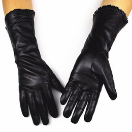 $enCountryForm.capitalKeyWord Australia - Wholesale- Guantes Mujer Added New Female Leather Gloves Fashion Lace Style Folds Lengthen Sheepskin Warm Mitts Thin Lining Free Shipping