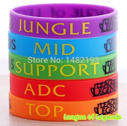 Discount adc bracelet Wholesale-LOL, League of Legend Wristband, Silicon Bracelet with ADC, JUNGLE, MID, SUPPORT, DOTA 2 Printed Band,5pcs Lot