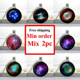Universe Pendant Canada - NS--0008 Green Pendant Nebula Turquoise White Nebula Necklace Galaxy Space universe Pleiades star cluster pendant Gifts for Her