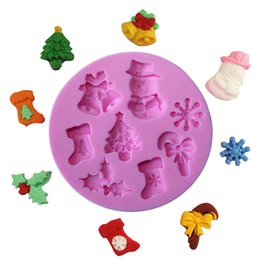 Silicone Snowman mould online shopping - Silicone Christmas Fondant Mold Santa Claus Snowman Christmas Tree Snow Cake Decoration Baking Diy Chocolate Biscuit Mold LZ0588