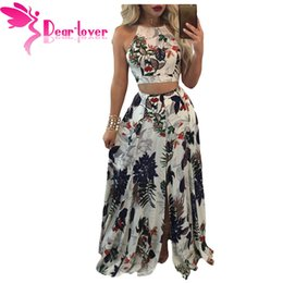46aaaf6ea6 Dear Lover Boho Skirt Set Women Two Piece Outfits Summer Trendy Floral  Print Crop Top with Split Maxi Skirts Beach Saias LC63027 q1113